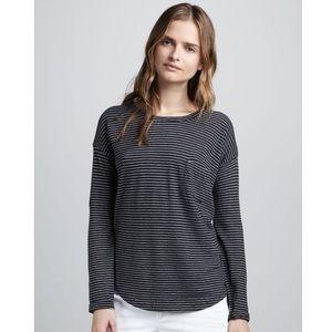 Vince Charcoal Gray L/S Striped Pocket T-Shirt